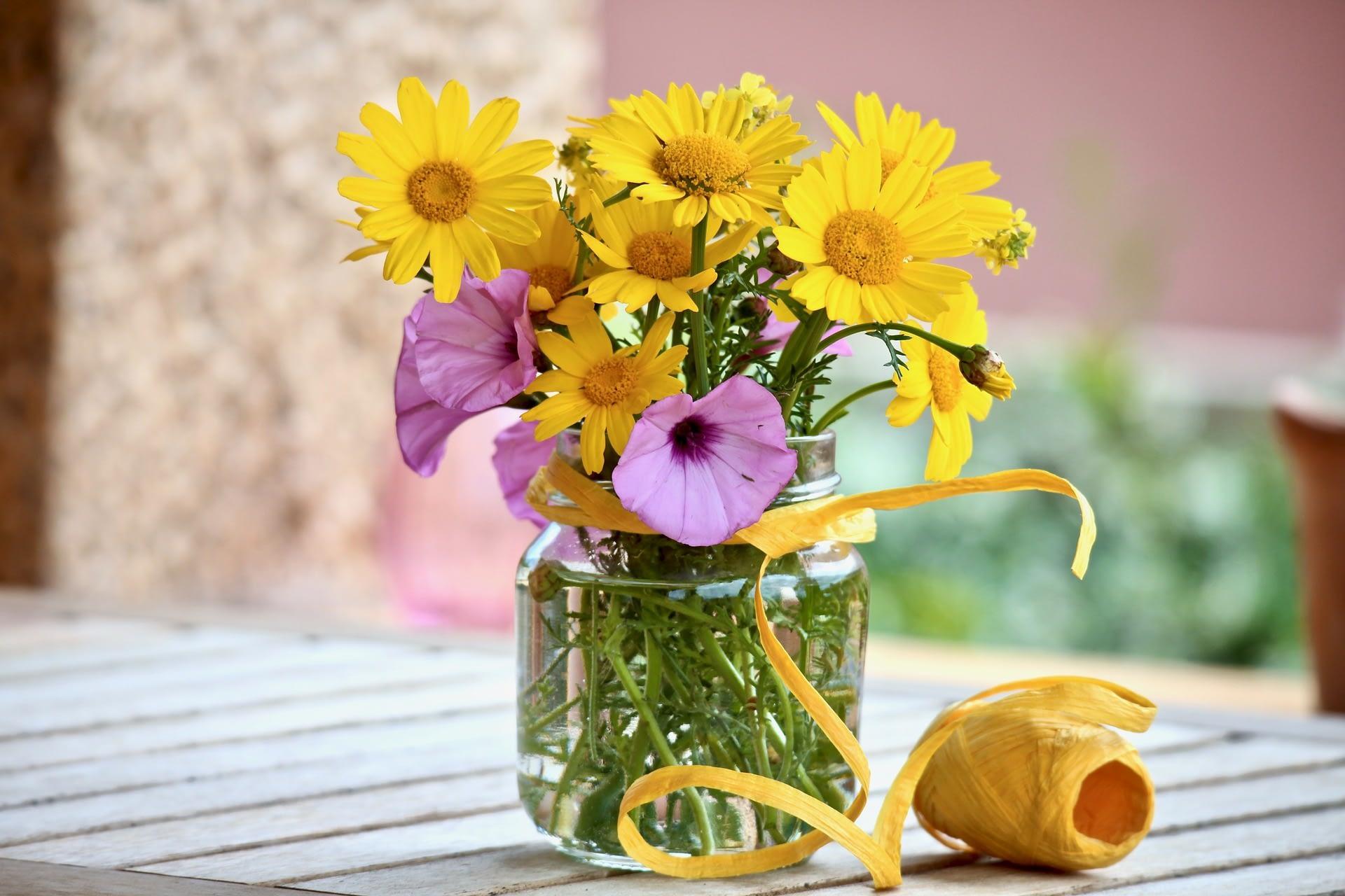 Easter Flowers in Jar