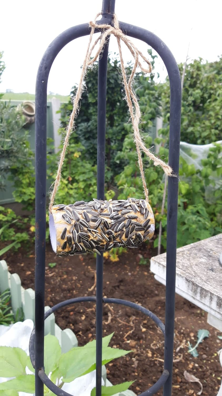 Bird feeder made from common house hold objects