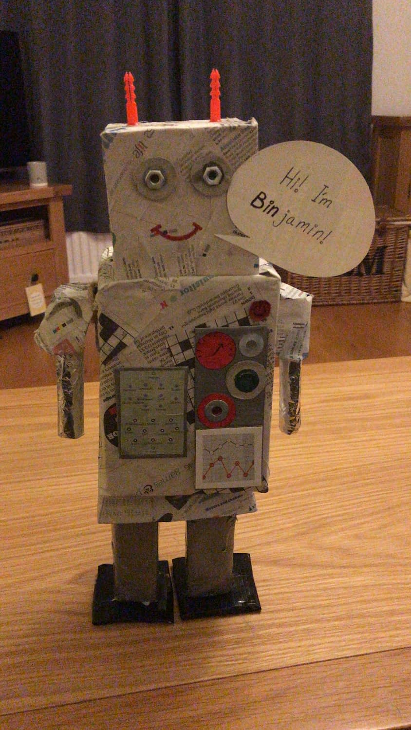 A robot made from recycled items found around the house