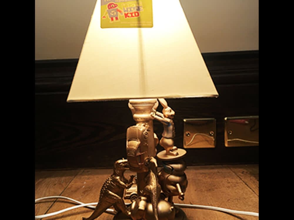 Old lamp made out of toys